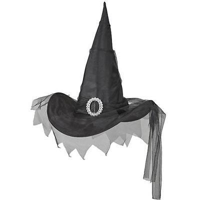 schwarz Hexenhut mit Tüll Schleier Hexe Zauberer Halloween Fasching Kostüm Hut