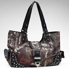 Faux Leather Camouflage Magnetic Snap Handbags & Purses