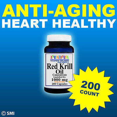Red Krill Oil 200 Capsules High 1000 Mg Omega 3 Fatty Acids Epa Dha  Astaxanthin