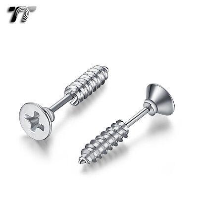 TT Silver 7mm Stainless Steel Screw Fake Ear Plug Spike Earrings (BE198S) NEW