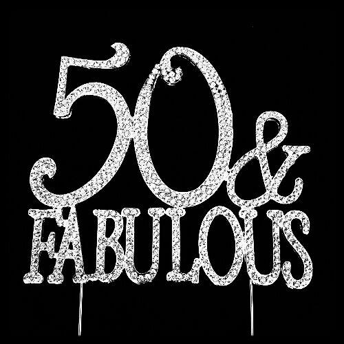 50th And Fab: 50th Birthday Cake Topper 50 & Fabulous Rhinestone