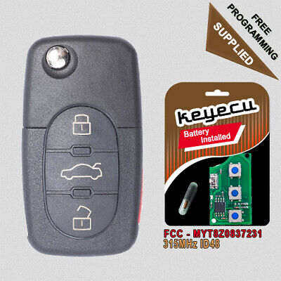 Uncut for Audi A4 A6 A8 Allroad Quattro 2001-2005 Remote Key Fob - MYT8Z0837231