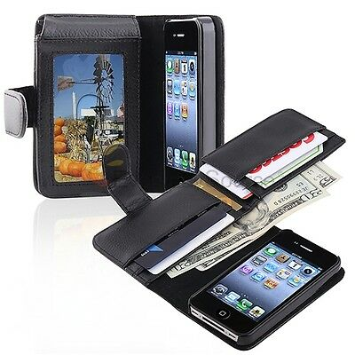Black Leather Wallet Flip Pouch Case Cover Accessory For Apple iPhone 4 4S 4G on Rummage