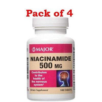 MAJOR Niacinamide, 500mg, 100 Count/Bottle (4 Bottles)