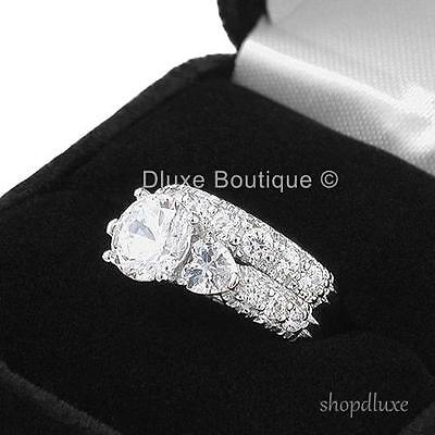 4.15 CT ROUND CUT CZ .925 STERLING SILVER WEDDING RING SET WOMEN'S SIZE 4-11 3