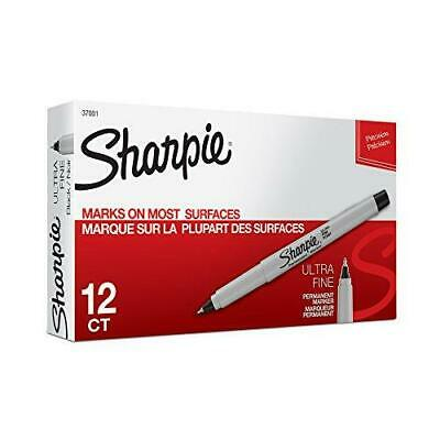 Sharpie 37001 Permanent Permanet Black Markers Ultra Fine Point Pen 12-pack New