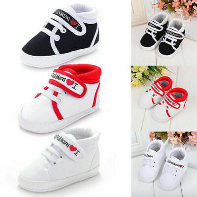 0-18M Newborn Baby Boy Girl Cute Soft Sole Shoes Crib Sneakers I Love Mom Dad