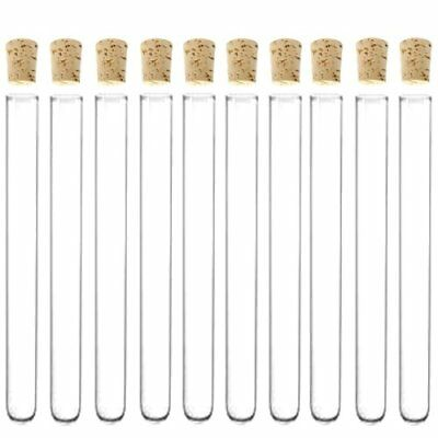 16x150mm Glass Test Tubes With Cork Stoppers - Karter Scientific Pack Of 10