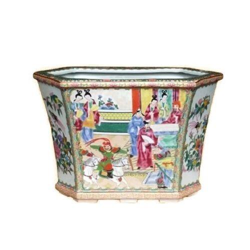 Beautiful Oriental Rose Canton Hexagonal Porcelain Flower Pot