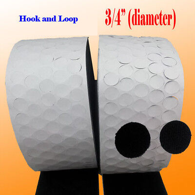 3 4  20Mm Self Adhesive Coin Hook And Loop Sticky Dots Black Industrial