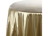 Brand new foil lame Gold and Silver table cloths and sashes, wedding, party, event, corporate