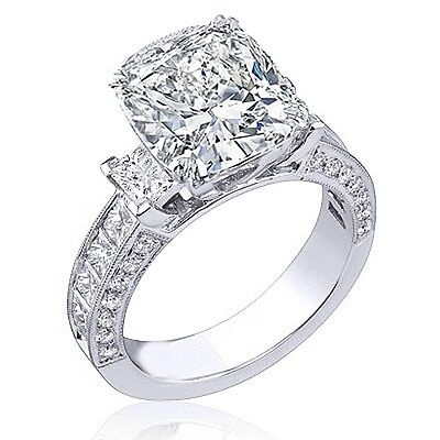 3.99 Ct. Cushion Cut, Princess & Round Diamond Engagement Ring E, VS1 GIA 14K