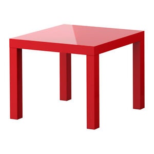 Side table, high gloss red