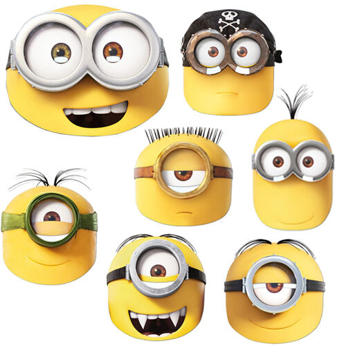 Official minions movie face masks kids fun party fancy for Minion mask template