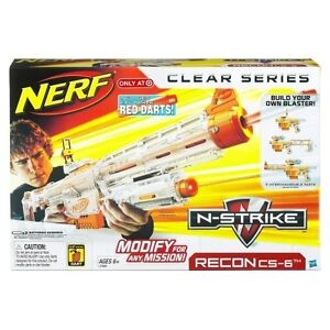 NEW~Nerf N-Strike RECON CS-6 CLEAR SERIES Blaster Gun~RED DARTS~RARE 3-IN-1