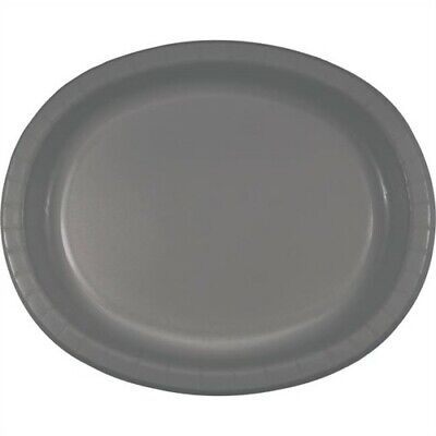 Glamour Gray Sturdy Style 12 Inch Oval Paper Plates 8 Pack Birthday Party Decor - Gray Paper Plates