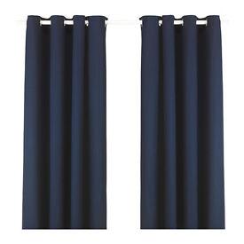 Living room new dark blue IKEA curtains