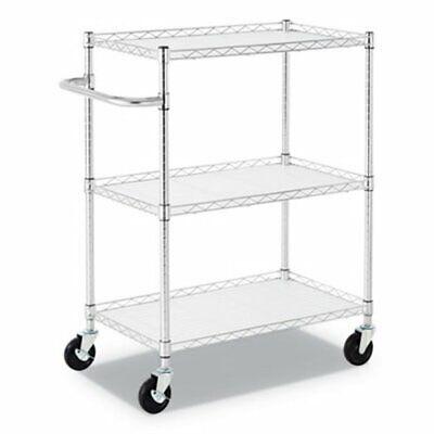 Alera 3-shelf Wire Cart With Liners 34 12 X 18 X 40 Silver Alesw333018sr