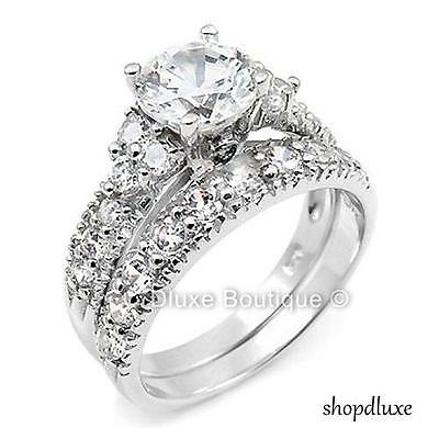 Halo Wedding Set - 3.50 CT ROUND CUT CZ .925 STERLING SILVER WEDDING RING SET WOMEN'S SIZE 4-11