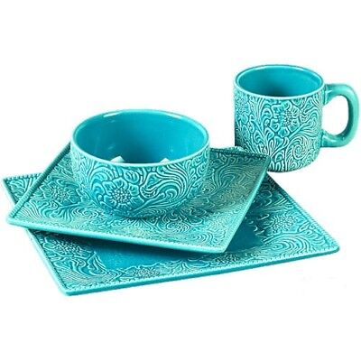 16 Piece Western TURQUOISE TOOLED Dinnerware Set Kitchen Dinner Glass Dish Set - Turquoise Dish Set