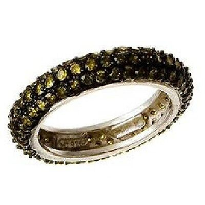 Pave Olive 5A CZ All Around Domed Eternity Sterling Silver Band Ring-SS/925
