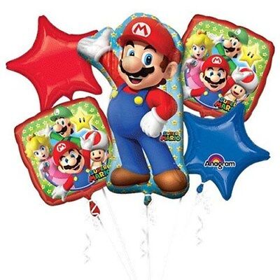 5 Piece Super Mario Brothers Foil Mylar Balloon Bouquet Party Decorating Supplie (Super Mario Brothers Decorations)
