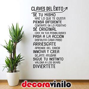VINILO-DECORATIVO-PEGATINA-PARED-LAS-CLAVES-DEL-EXITO-FRASE-58x100cm-ORIGINAL