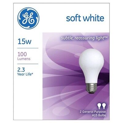 NEW GE 97491 15W Standard Med base E26  Incandescent Light Bulb 2 PACKS 4 BULBS