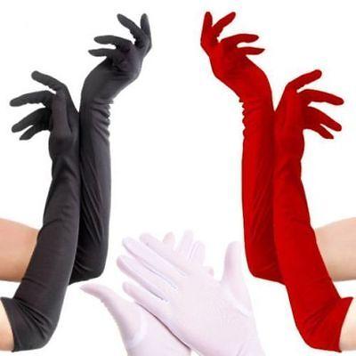 White Opera Gloves (Satin Long Finger Elbow Sun protection gloves Opera Evening Party Fashion)