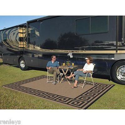 Indoor Outdoor Patio Mat RV 9'x12' Reversible Camping Picnic Carpet Deck Rug Pad