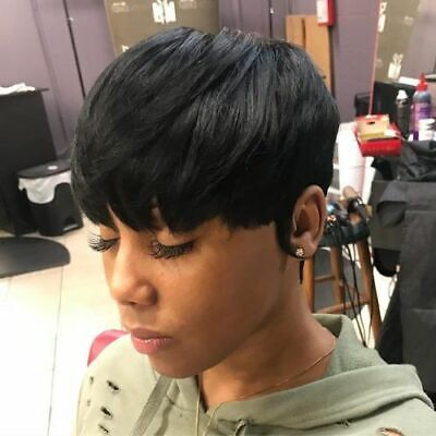 Women Pixie Cut Short Wig Black Straight Wig Human Hair Wig No Lace Wig Glueless Black Pixie Adult Wig