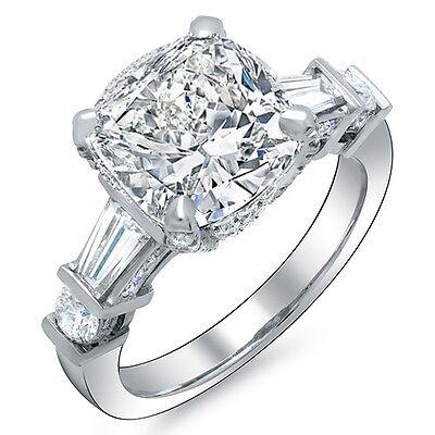 Natural 3.80 Ct Cushion Cut Baguette & Round Diamond Engagement Ring J VVS1 Plat