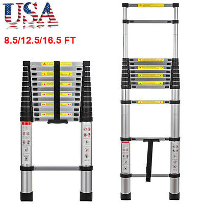 16.58.5ft Folding Multi Purpose Telescopic Extension Ladder Aluminum Heavy Duty