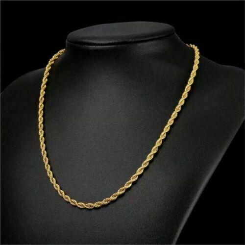 "18K Solid Gold Rope Chain Necklace Men Women 16"" 18"" 20"" 22"""