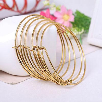 New hot Expandable Wire Bangle Bracelet Adjustable Gold Silver Tone Charms - Diy Wire Bracelet
