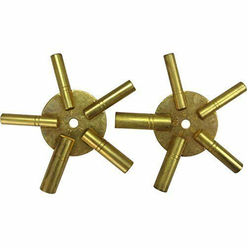 2 Pc Clock Winding Brass Key Set Even & Odd Numbers Universal Mantle NEW