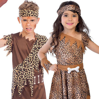 Caveboy Kids Fancy Dress Prehistoric Stone Age Cavegirl Boys Girls Costumes ](Stone Age Costumes)