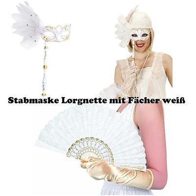 Augenmaske Lorgnette mit Stab und Fächer weiß Stabmaske Barock Kostüm Maskenball
