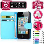 iPhone 4 Leather Flip Case Blue