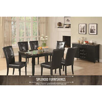 BRAND NEW!! BLACK/GOLD FAUX MARBLE 5 Pc DINING SET