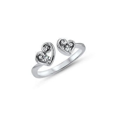 925 Sterling Silver Toe Ring Double Heart CZ Cubic Zirconia Jewelry Adjustable