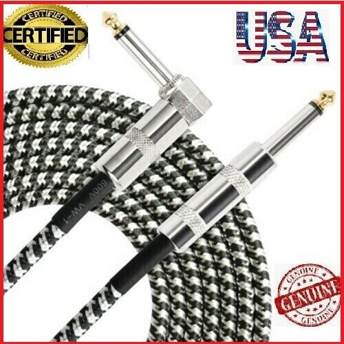 """10ft NOISELESS Electric Guitar Bass Cable Pedal AMP Cord 1/4"""" NEW CERTIFIED USA"""