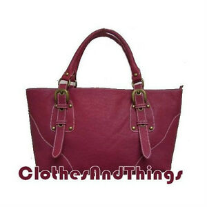 NEW - Dark Pink Genuine Leather Tote Handbag