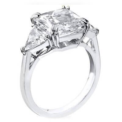 2.50 Ct 3 Stone Asscher Cut & Trillion Diamond Engagement Ring GIA J,VS2 14K WG 1
