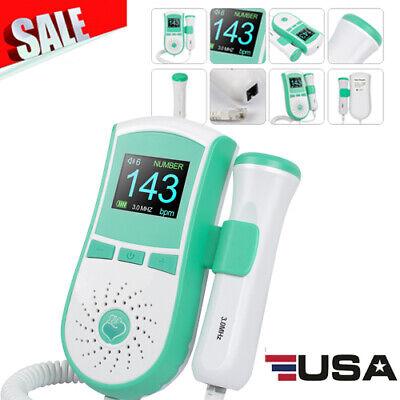 Fda Fetal Doppler Baby Heart Detector Ultrasonic Monitor Prenatal 3.0 Mhz Probe