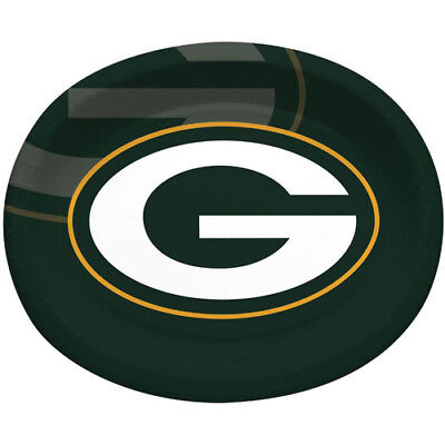 NFL GREEN BAY PACKERS EXTRA LARGE OVAL PAPER PLATES (8) ~Birthday Party Supplies (Packer Party Supplies)