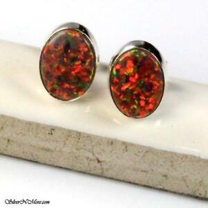 Red Fire Opal Earrings