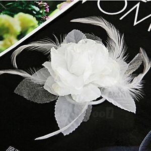 White Flower Fascinator Corsage Brooch Pin or Hair Clip -New