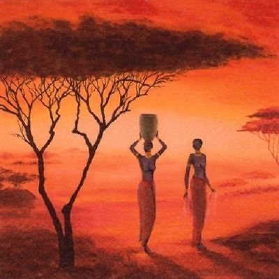 4 x Paper Napkins - African Sunset - Ideal For Decoupage / Napkin Art(2089)