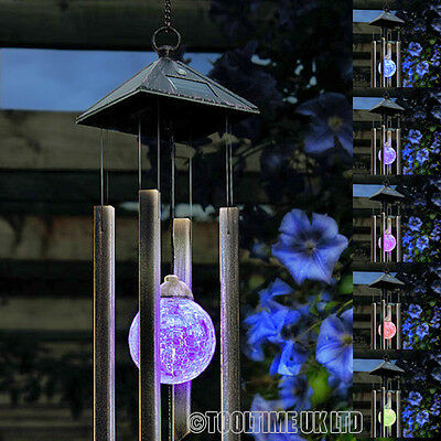 WIND CHIMES WITH SOLAR POWERED COLOUR CHANGING LED LIGHT GARDEN WINDCHIMES